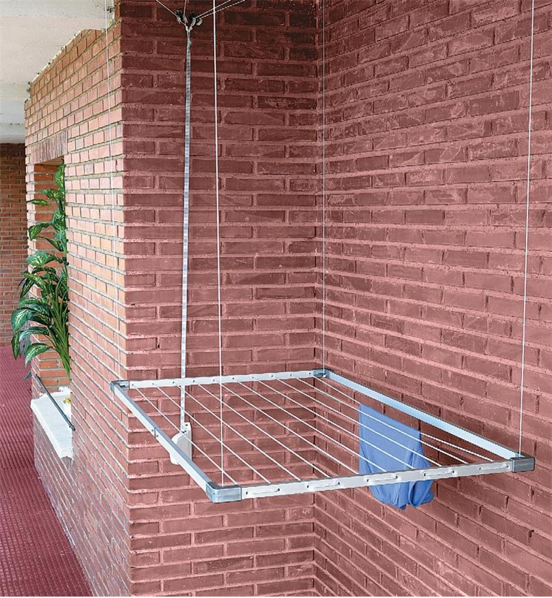 Drying rack in lowered position