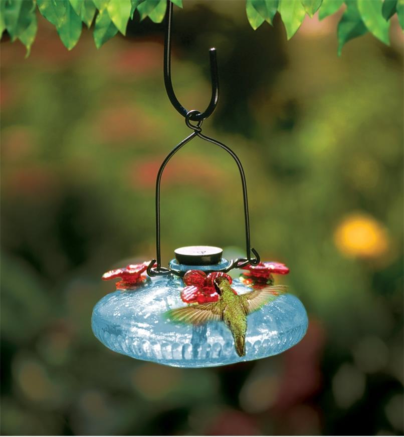 AG172 - Hand-Blown Glass Hummingbird Feeder
