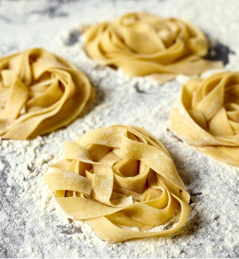 Fresh lasagnette noodles made using a Marcato pasta machine with the lasagnette cutter attachment