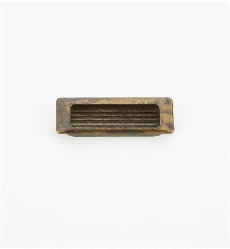 01X4211 - Poignée encastrée rectangulaire, fini laiton ancien, 90 mm x 31 mm