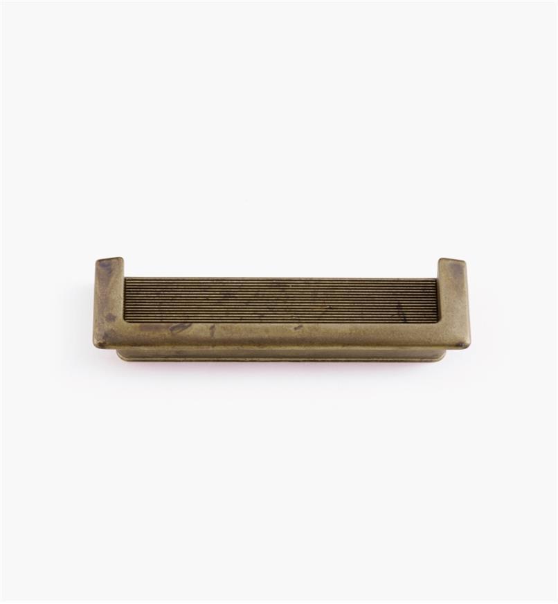 01X4221 - Poignée encastrée de bordure de 143 mm x 40 mm, fini laiton ancien