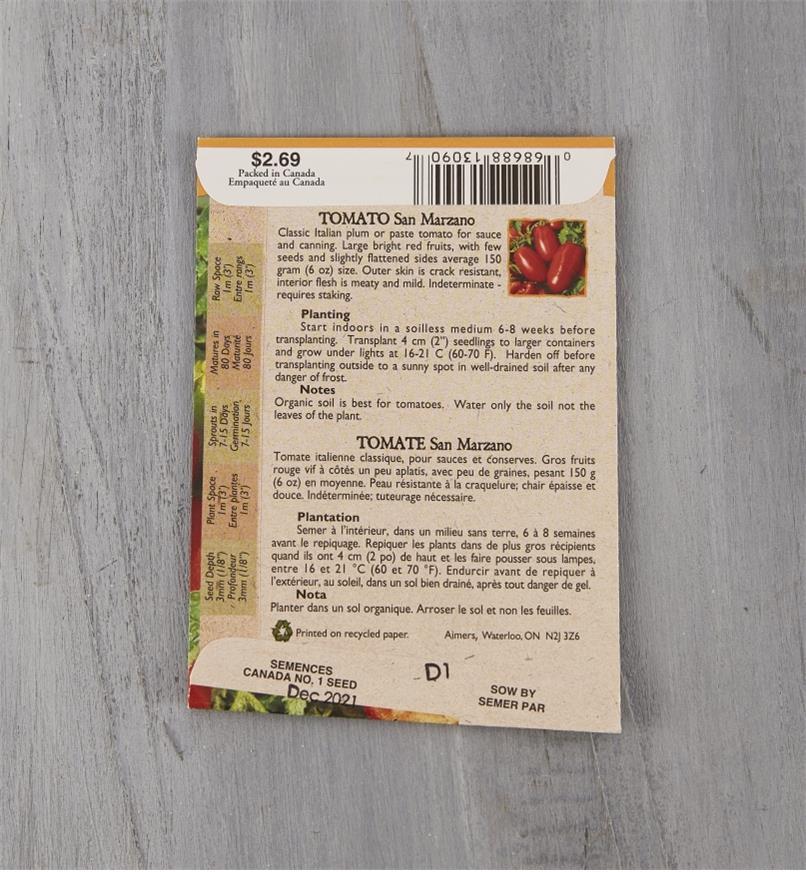 SD117 - Organic Tomato, San Marzano