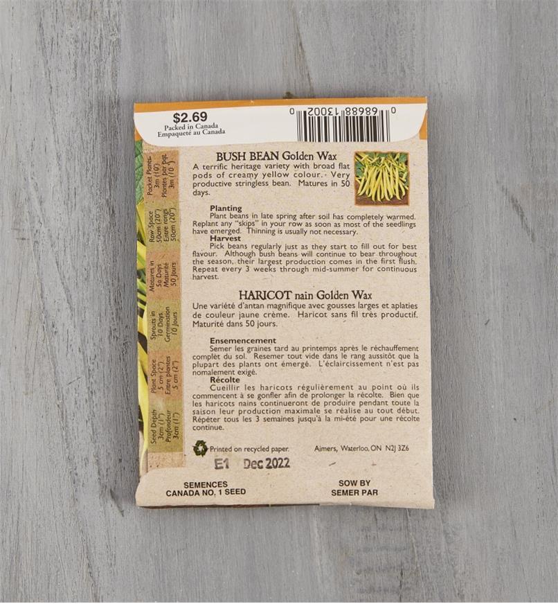 SD132 - Organic Yellow Bush Bean, Golden Wax