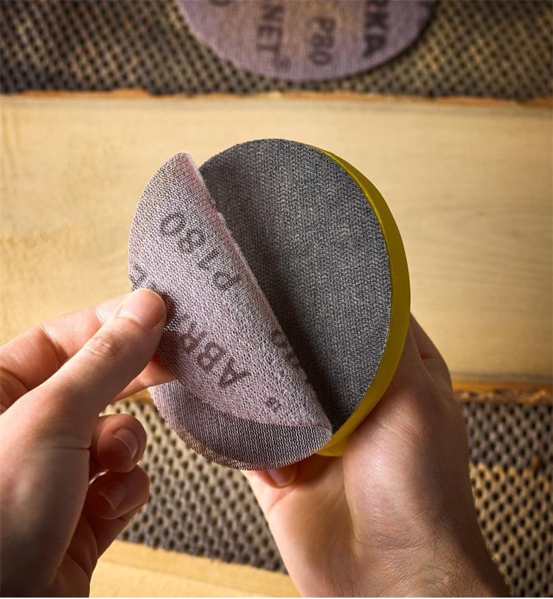 """Attaching a sanding disc to the 5"""" disc sanding block"""