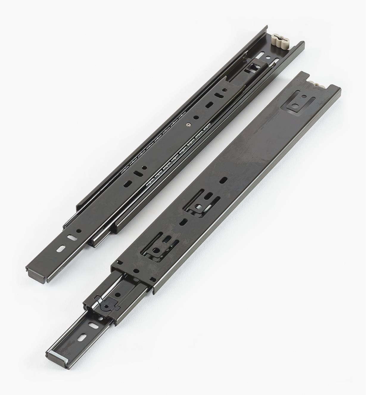 02K3612 - Coulisses de 12po à extension complète pour charge de 100lb, fini noir, la paire