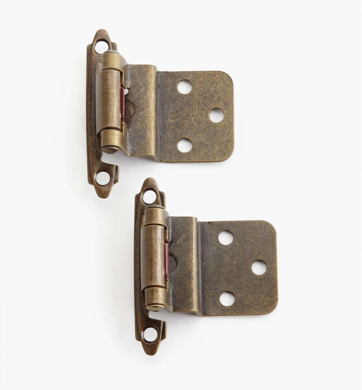 "02H1331 - 3/8"" Antique Brass Offset Self-Closing Hinges, pair"