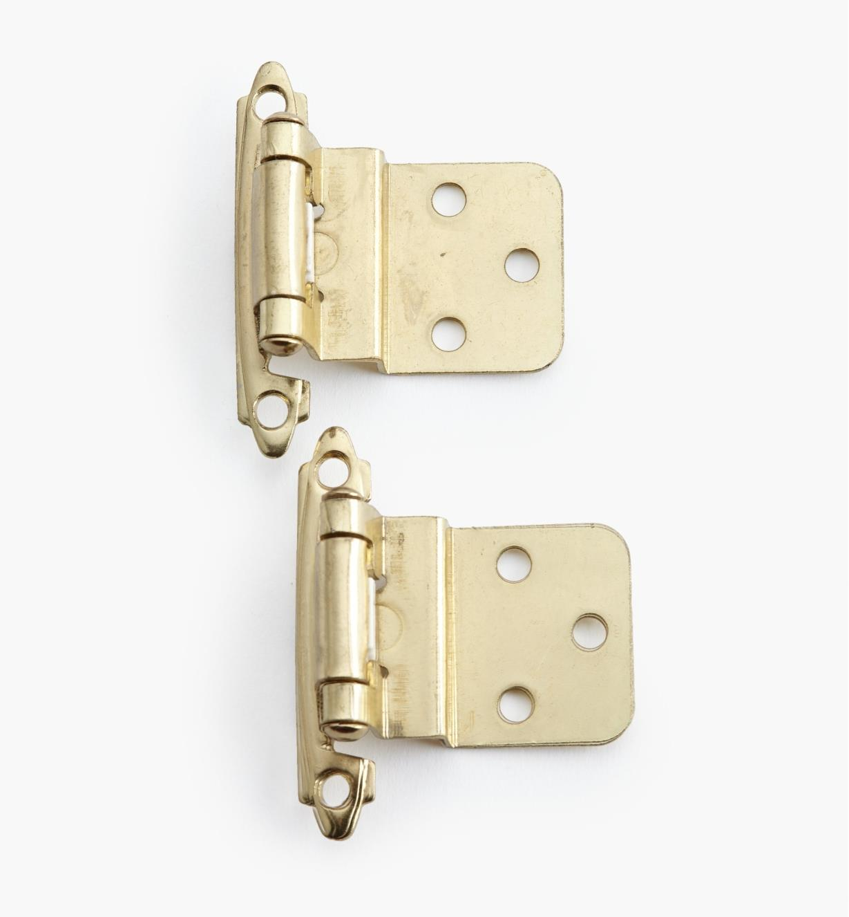"02H1332 - 3/8"" Brass Offset Self-Closing Hinges, pair"