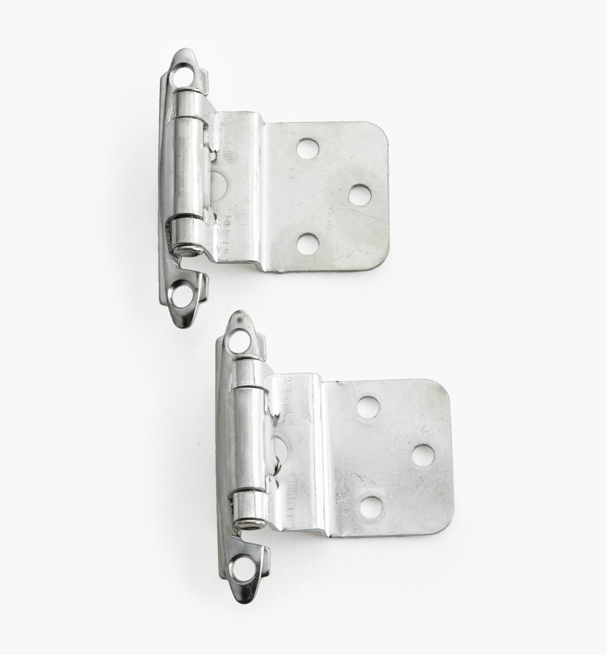 "02H1334 - 3/8"" Chrome Plate Offset Self-Closing Hinges, pair"