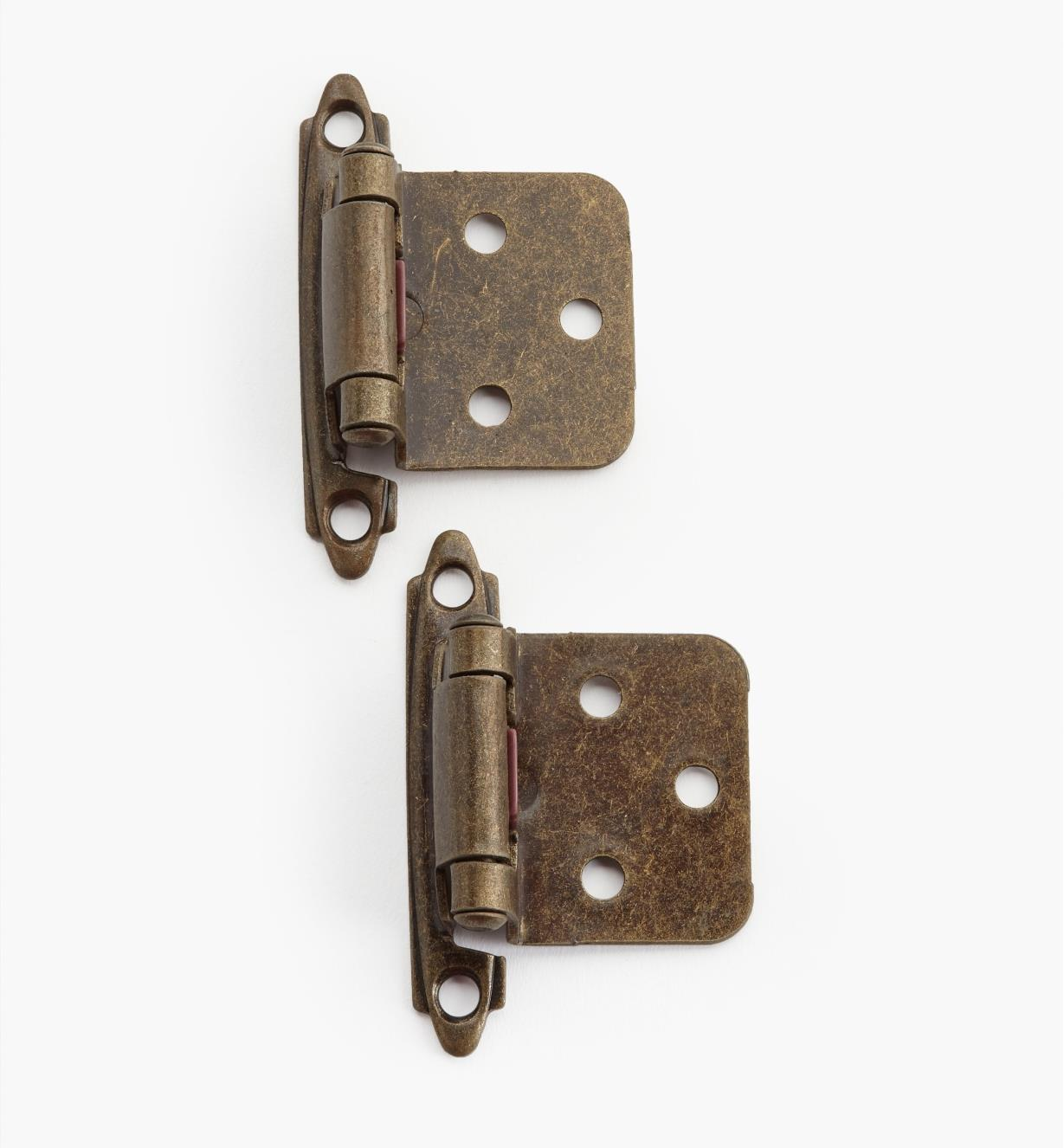 02H1341 - Antique Brass Flush-Mount Self-Closing Hinges, pair