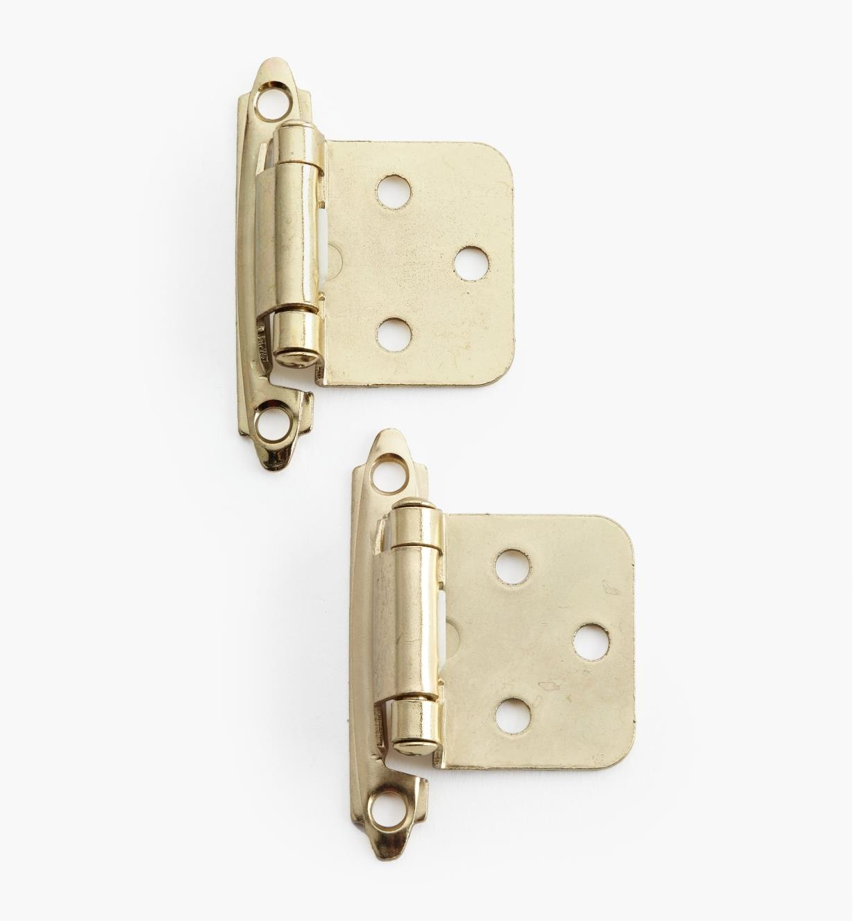 02H1342 - Brass Flush-Mount Self-Closing Hinges, pair