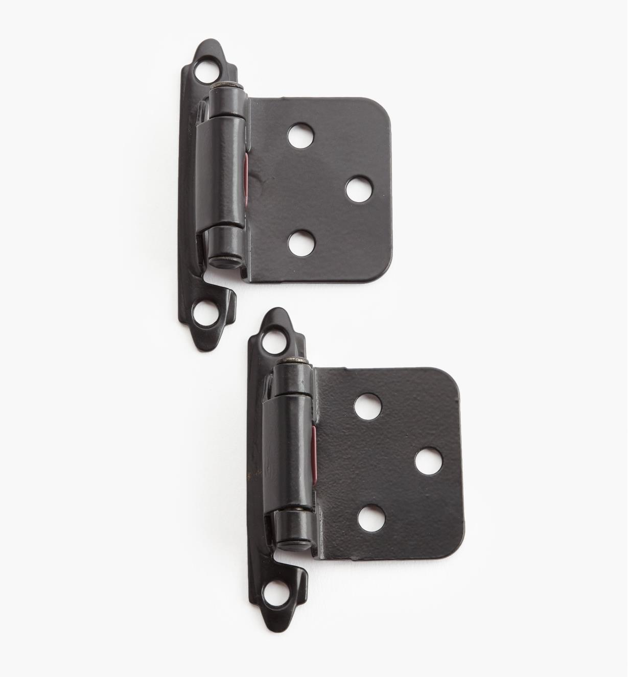 02H1343 - Black Flush-Mount Self-Closing Hinges, pair