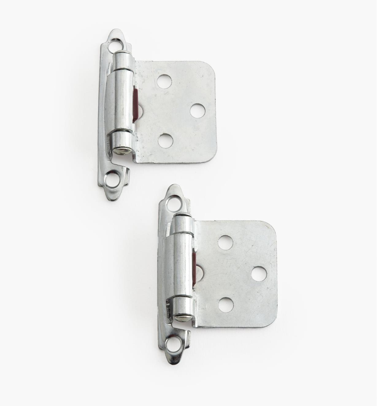 02H1344 - Chrome Plate Flush-Mount Self-Closing Hinges, pair