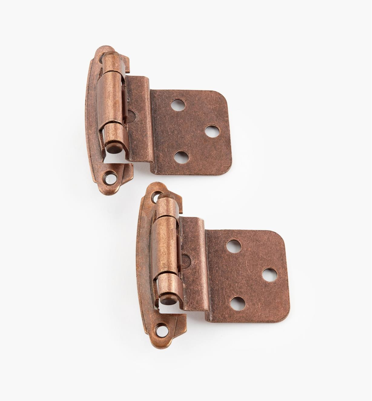 "02H1361 - 3/8"" Antique Copper Offset Self-Closing Hinge, Pair"