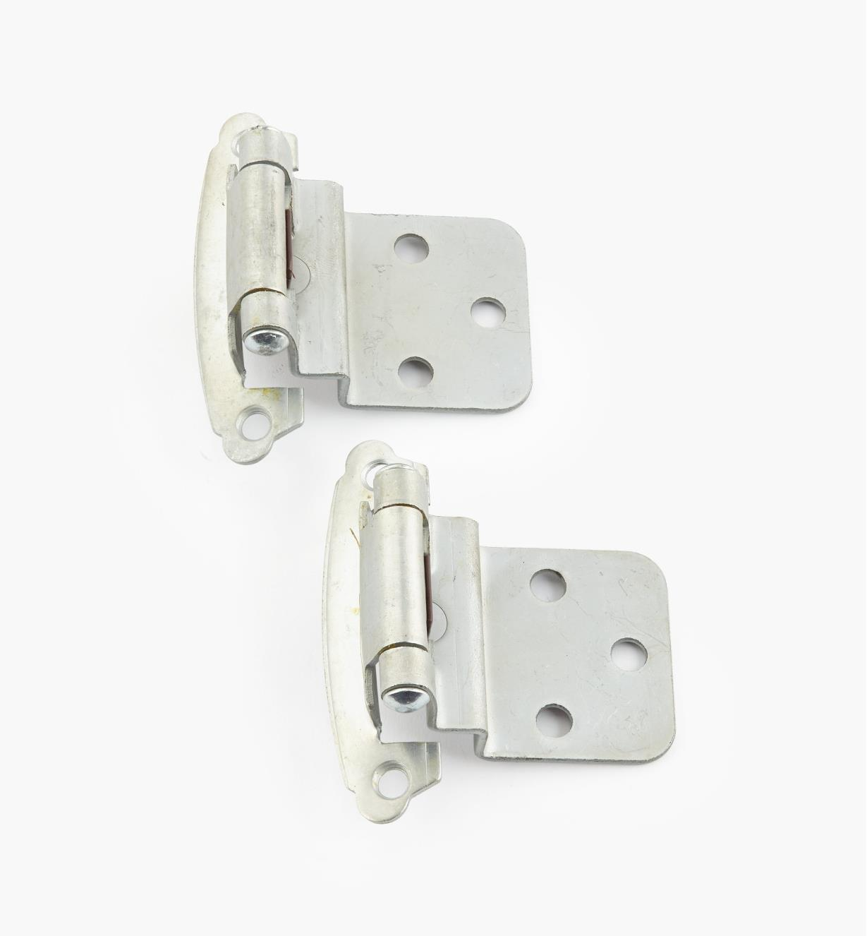 "02H1363 - 3/8"" Satin Chrome Offset Self-Closing Hinge, Pair"