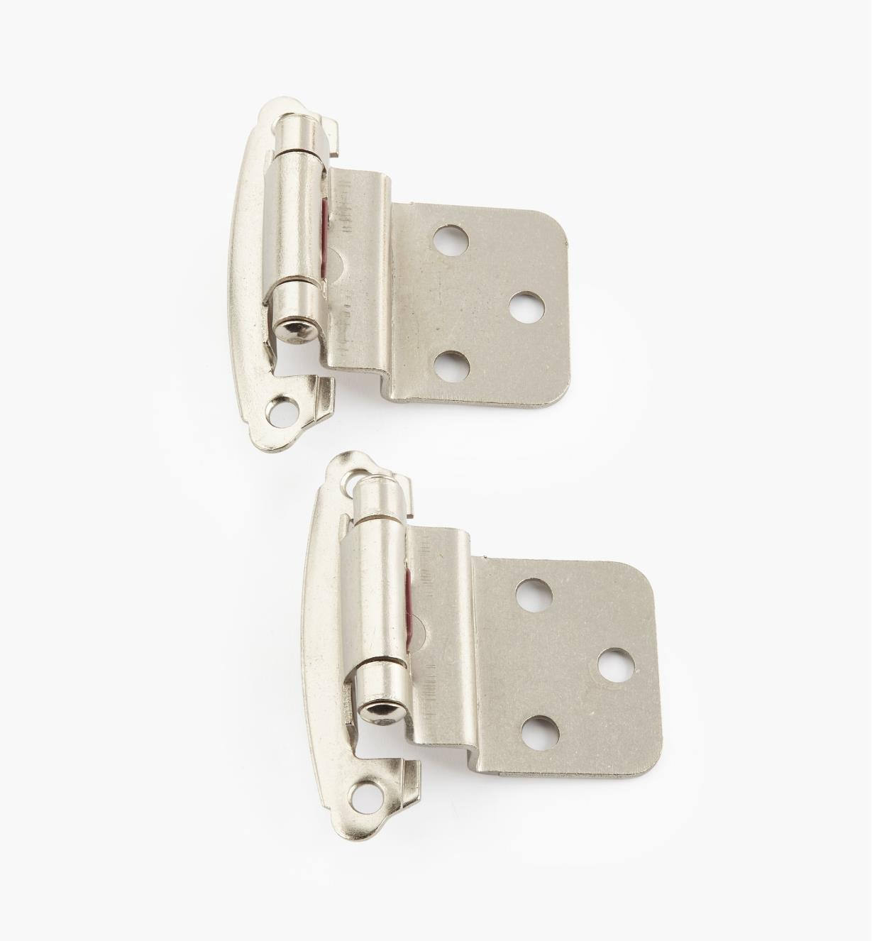 "02H1365 - 3/8"" Satin Nickel Offset Self-Closing Hinge, Pair"