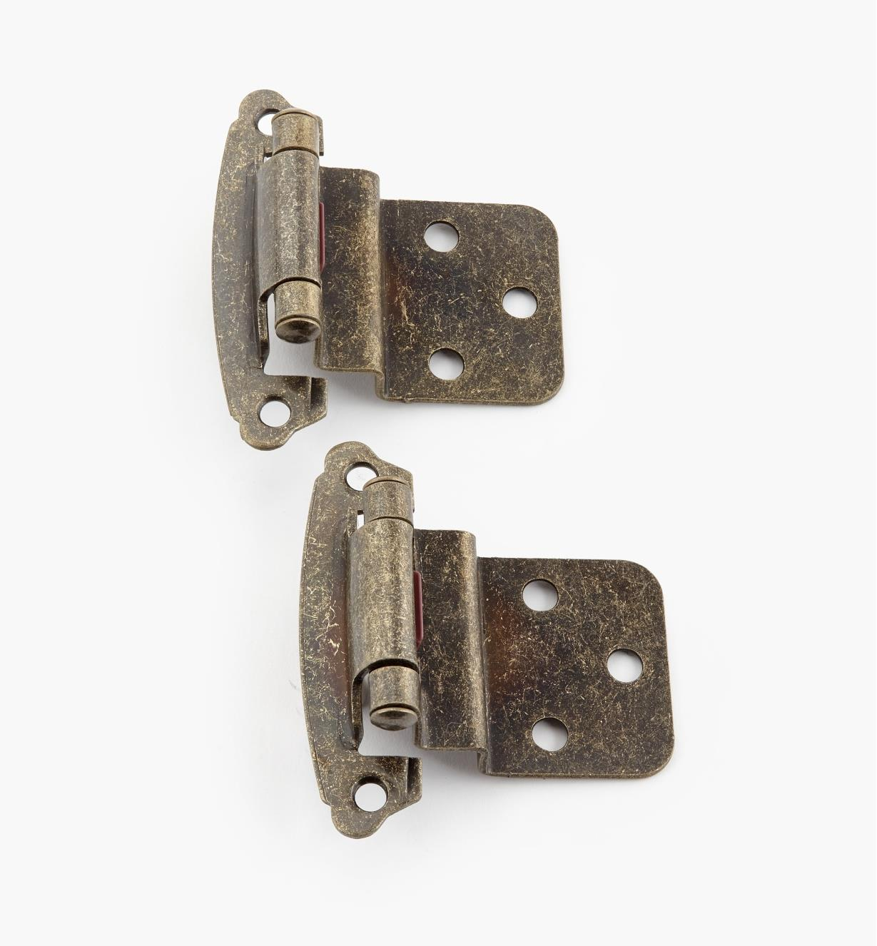 "02H1367 - 3/8"" Antique Brass Offset Self-Closing Hinge, Pair"