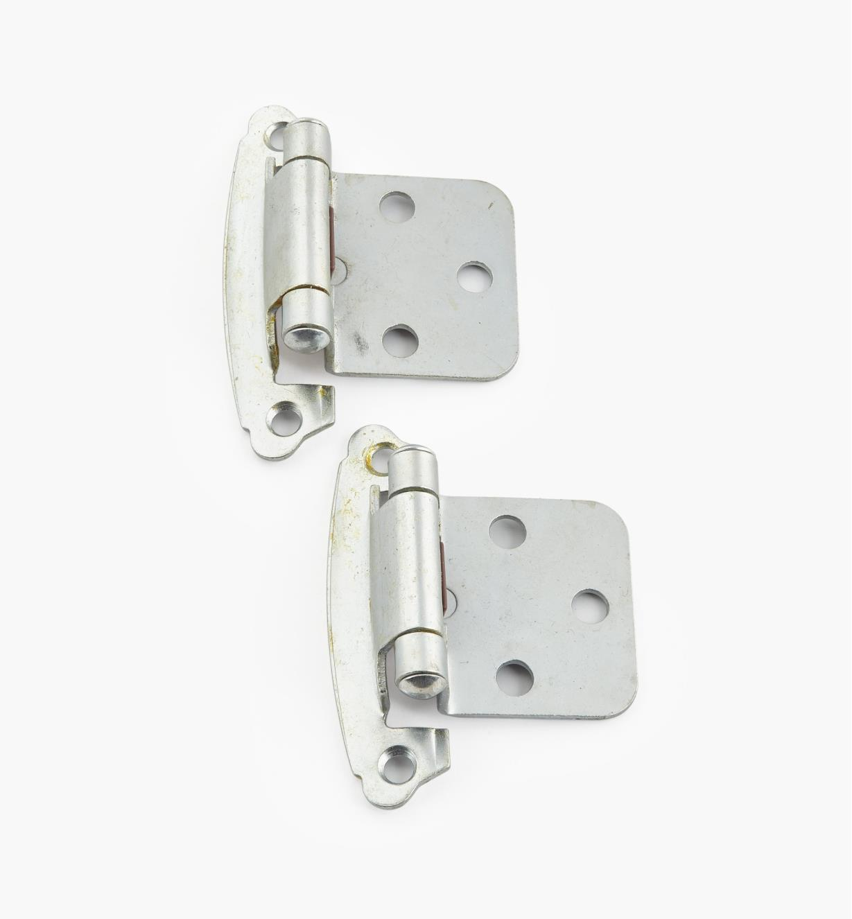 02H1373 - Satin Chrome Flush-Mount Self-Closing Hinge, Pair
