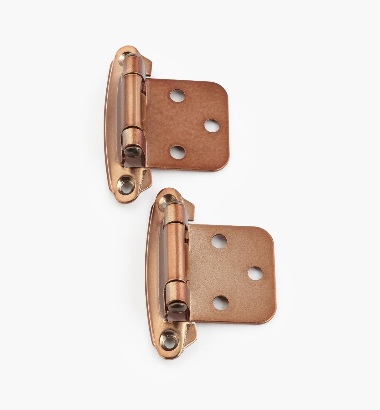 02H1374 - Satin Bronze Flush-Mount Self-Closing Hinge, Pair