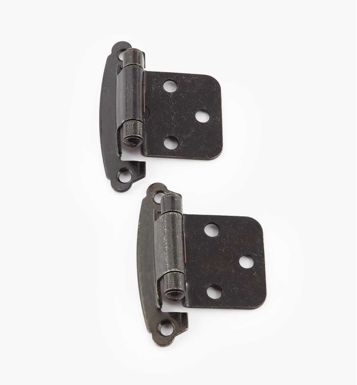 02H1376 - Pewter Flush-Mount Self-Closing Hinge, Pair