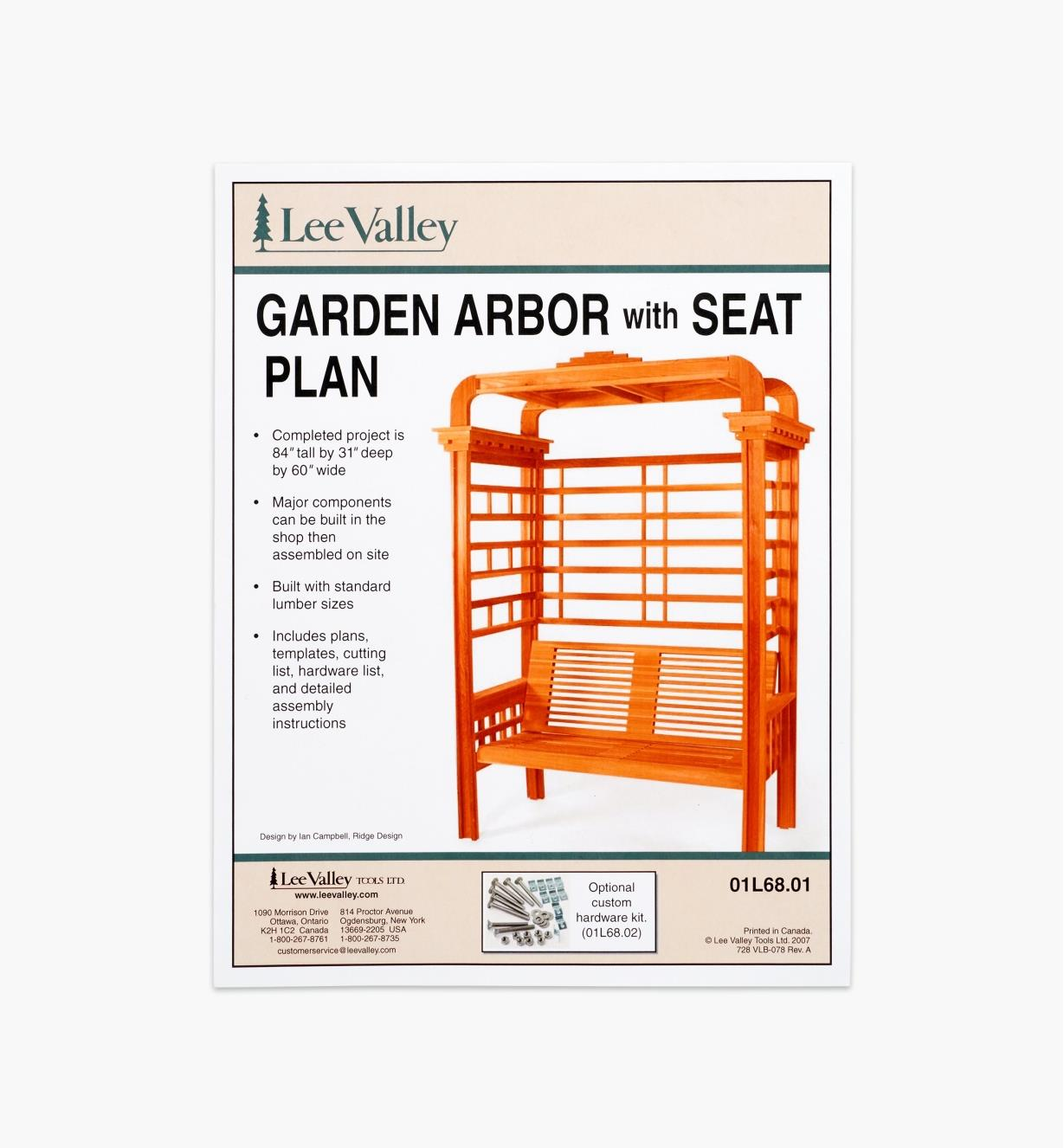 01L6801 - Arbor with Seat Plan