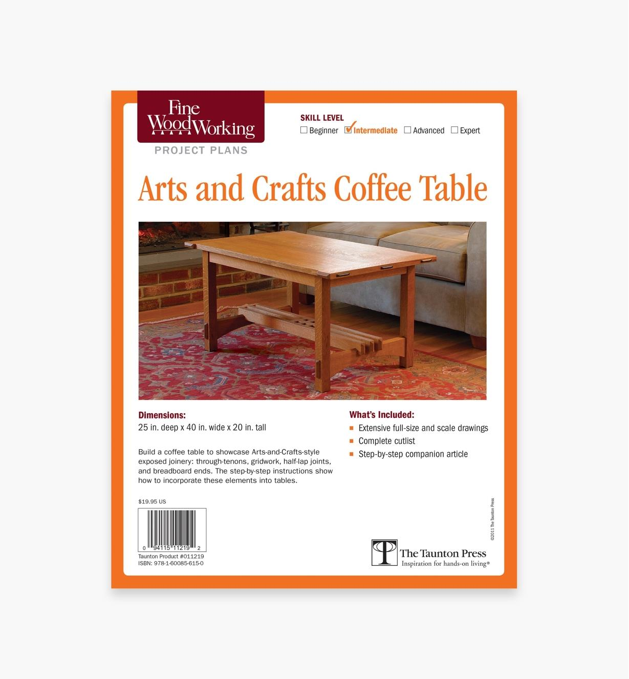 73L2523 - Arts and Crafts Coffee Table Plan