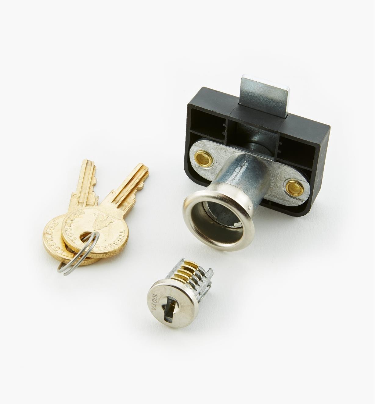 """00F0643 - 1 1/4"""" Offset Back-Mount Drawer Lock, Nickel"""