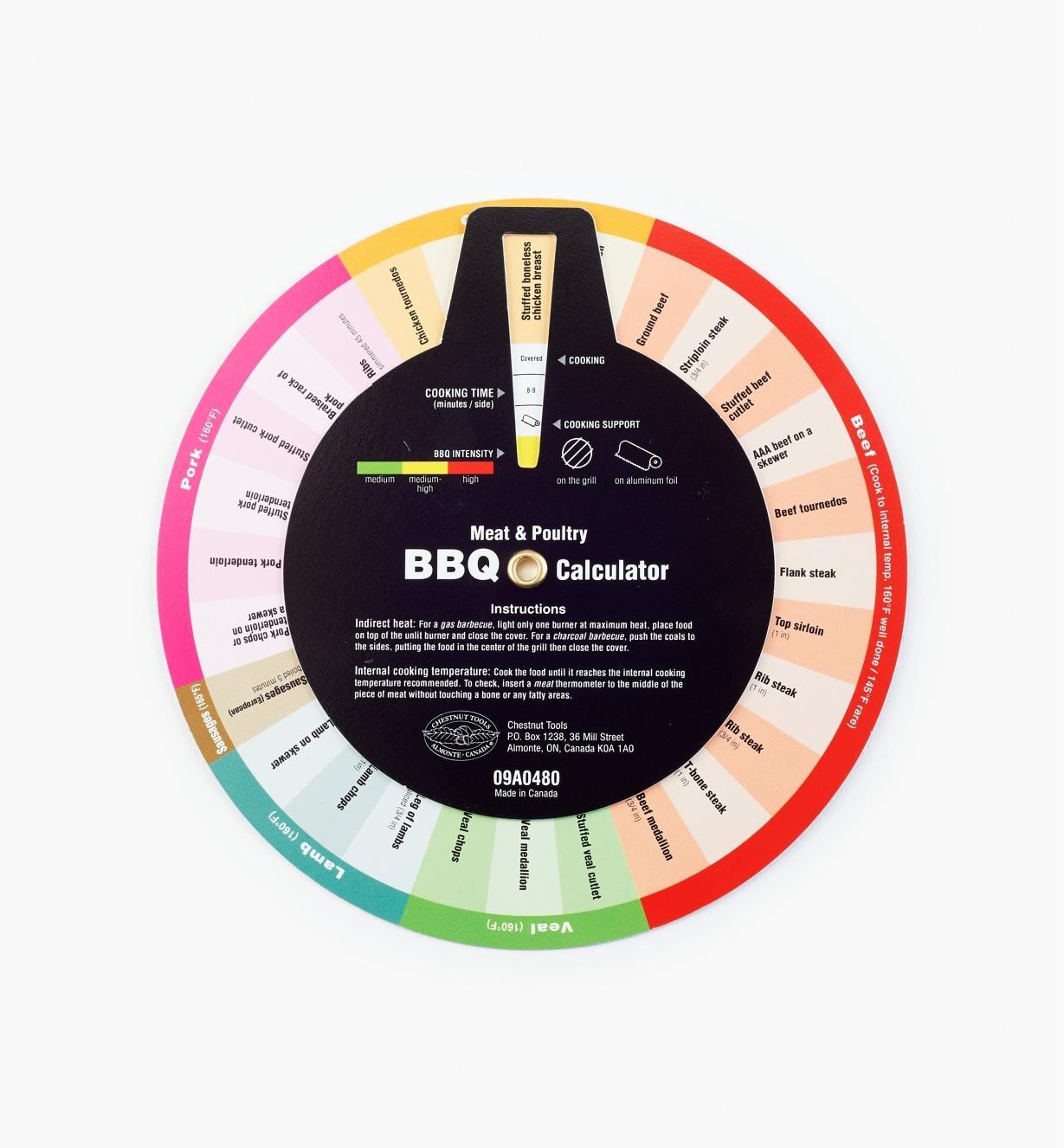 09A0480 - Barbecue Calculator Wheel