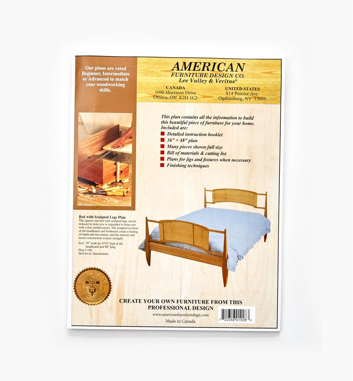 01L5067 - Bed with Sculpted Legs Plan