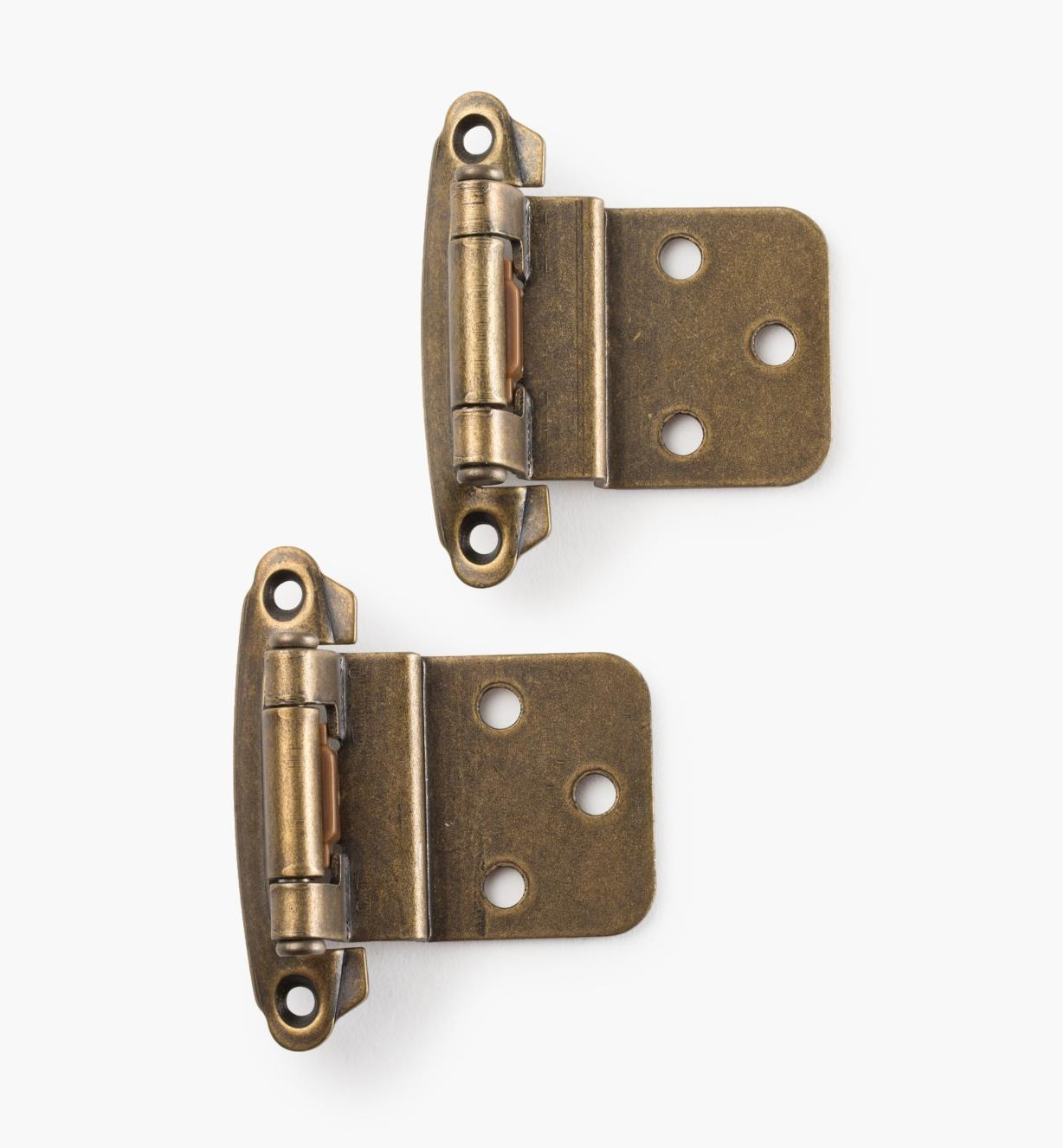 03W1207 - Belwith Surface Self-Closing Offset Hinges, Windover Antique, 10 pr.