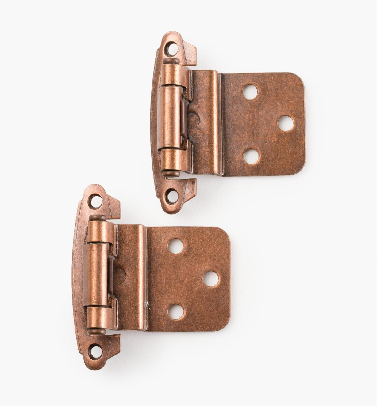 03W1212 - Belwith Surface Self-Closing Offset Hinges, Antique Copper, 10 pr.