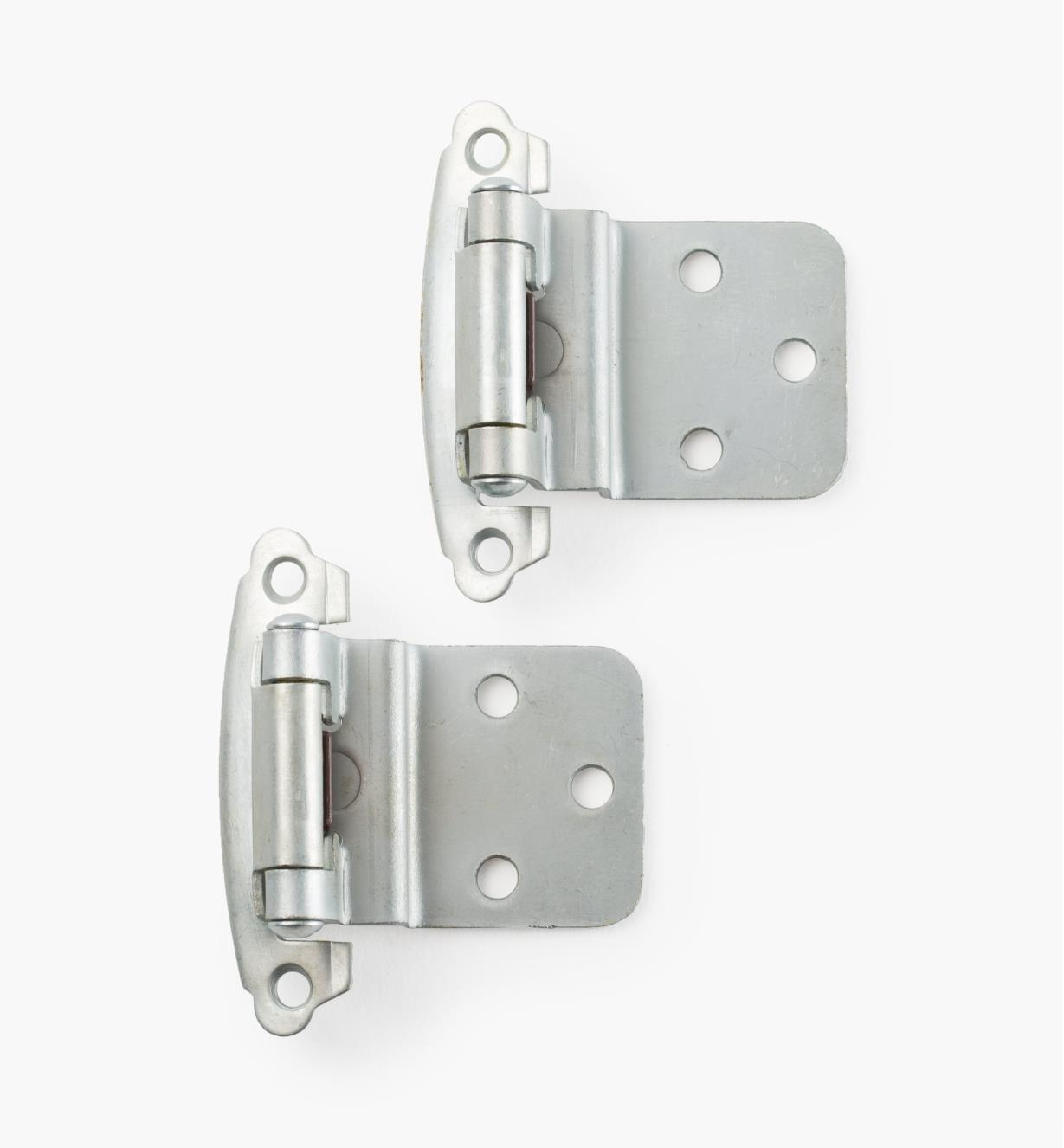 03W1213 - Belwith Surface Self-Closing Offset Hinges, Satin Chrome, 10 pr.
