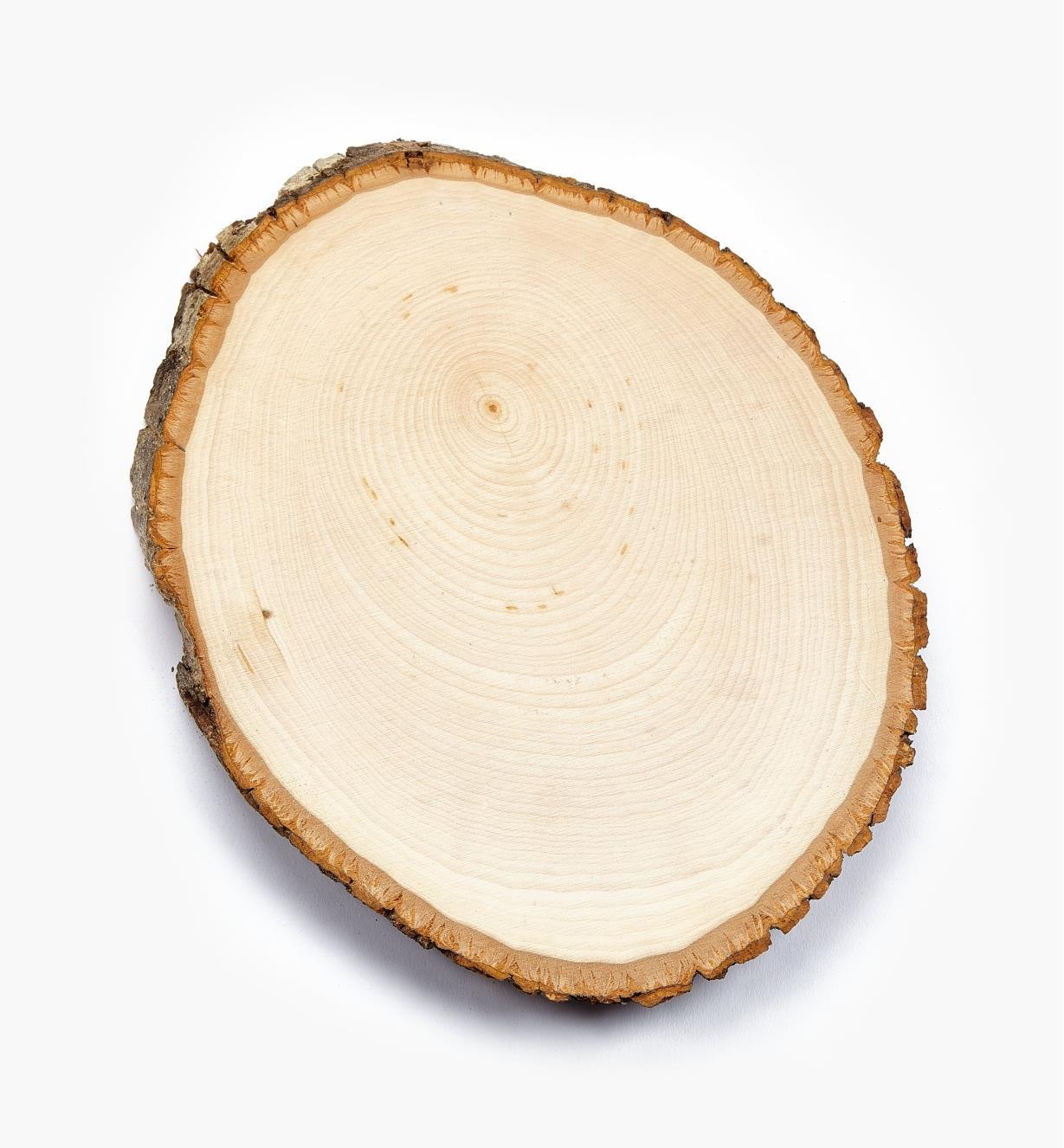 38N1262 - Plaque ovale en tilleul avec écorce, 8po × 10po