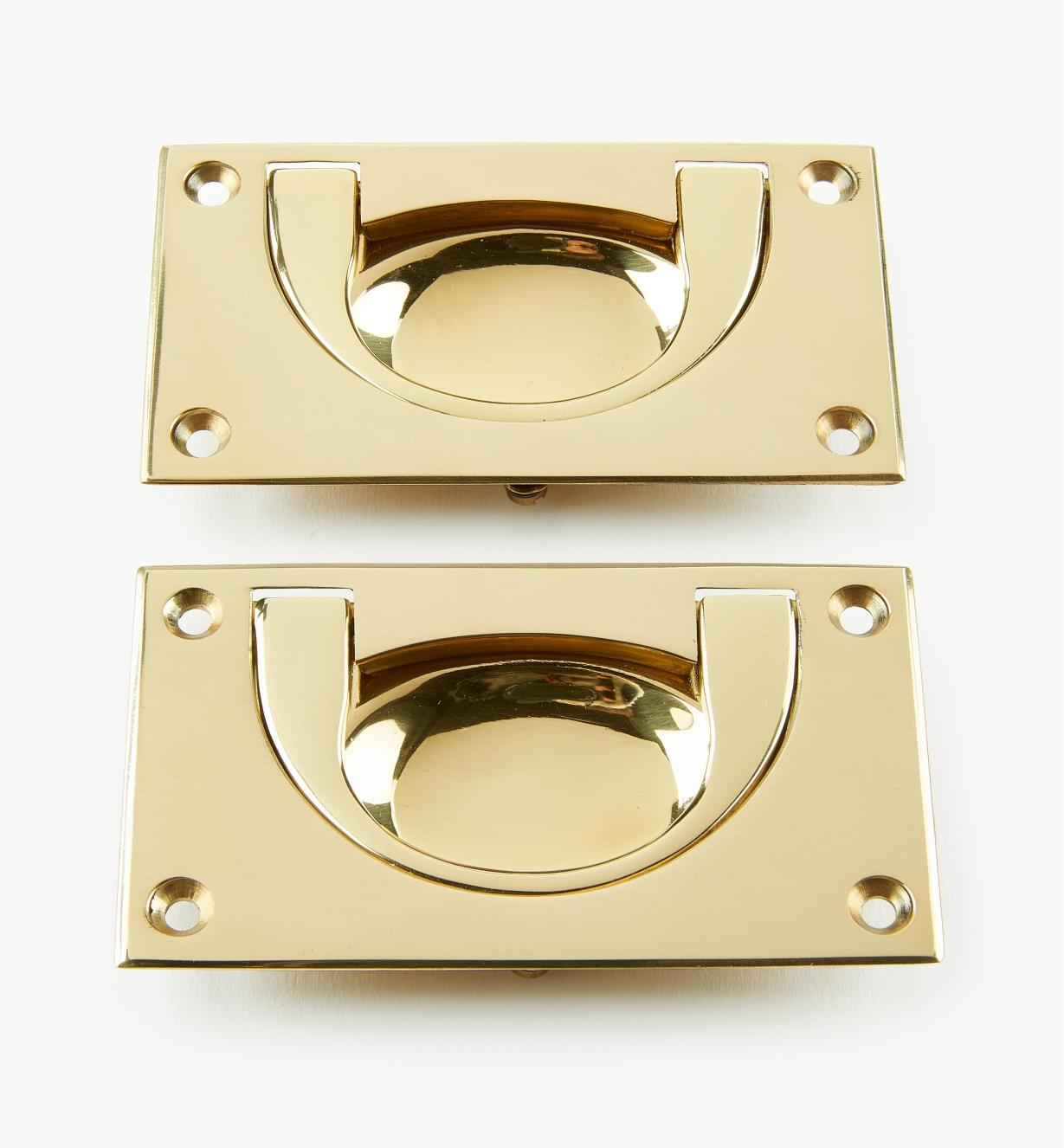 "00A1903 - 4"" x 2 3/16"" x 1/2"" Campaign Chest Flush Handles, pr."