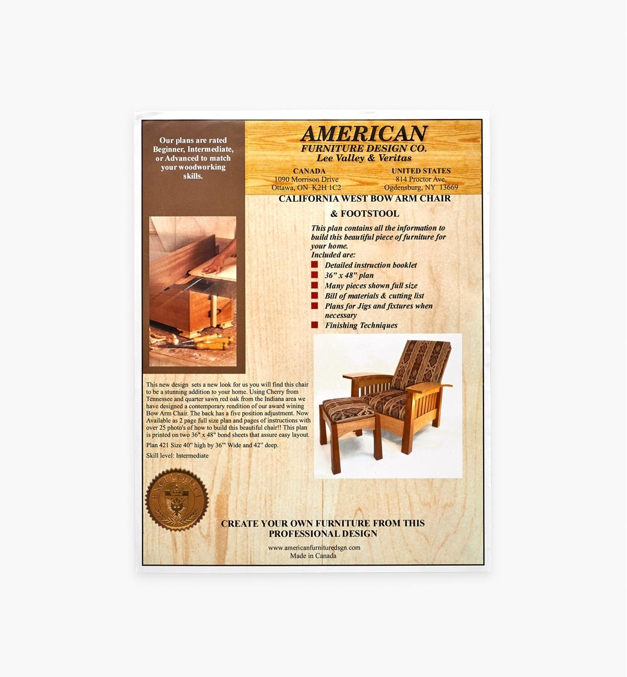 01L5132 - California West Bow Arm Chair Plan