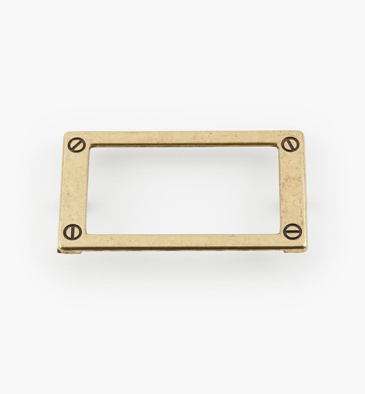 01W3512 - Porte-étiquette en zinc coulé, anglais antique, 79 mm