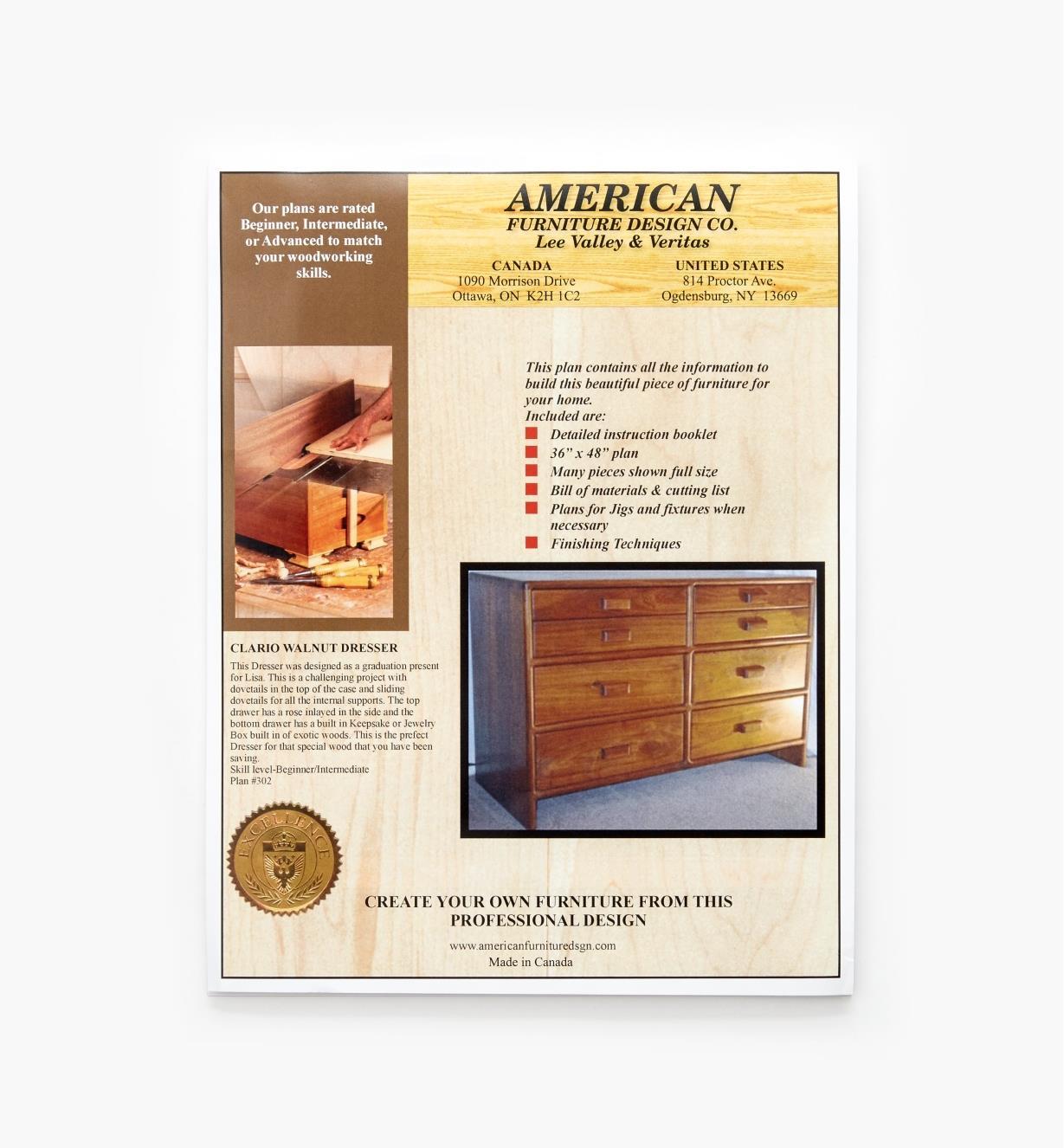 01L5106 - Claro Walnut Dresser Plan