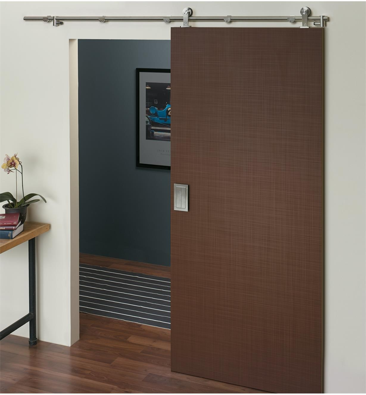 Example of door mounted with Stainless-Steel Barn-Style Door Hardware