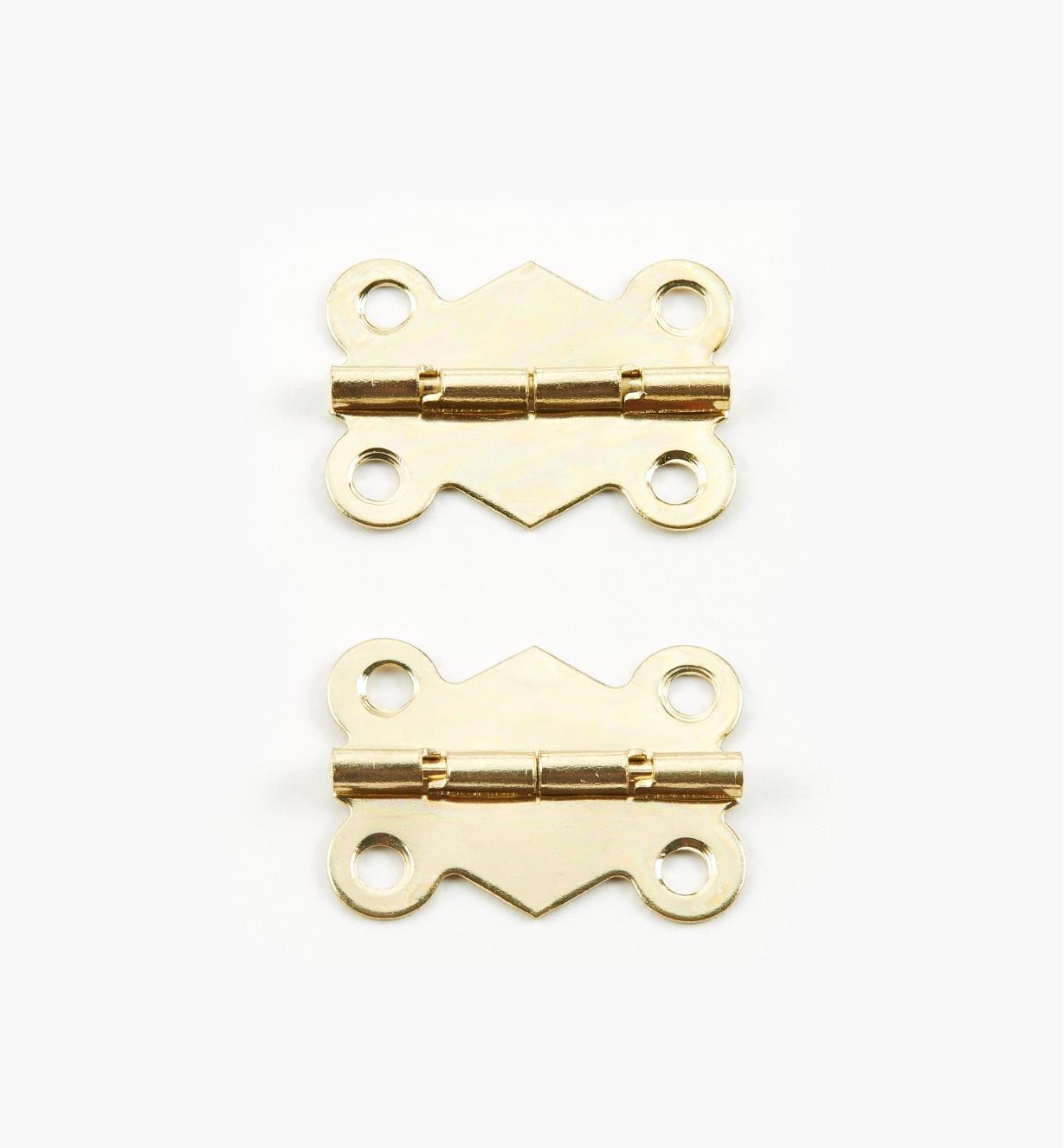 00D8010 - Charnières décoratives à butée, 25 mm x 19 mm, lapaire