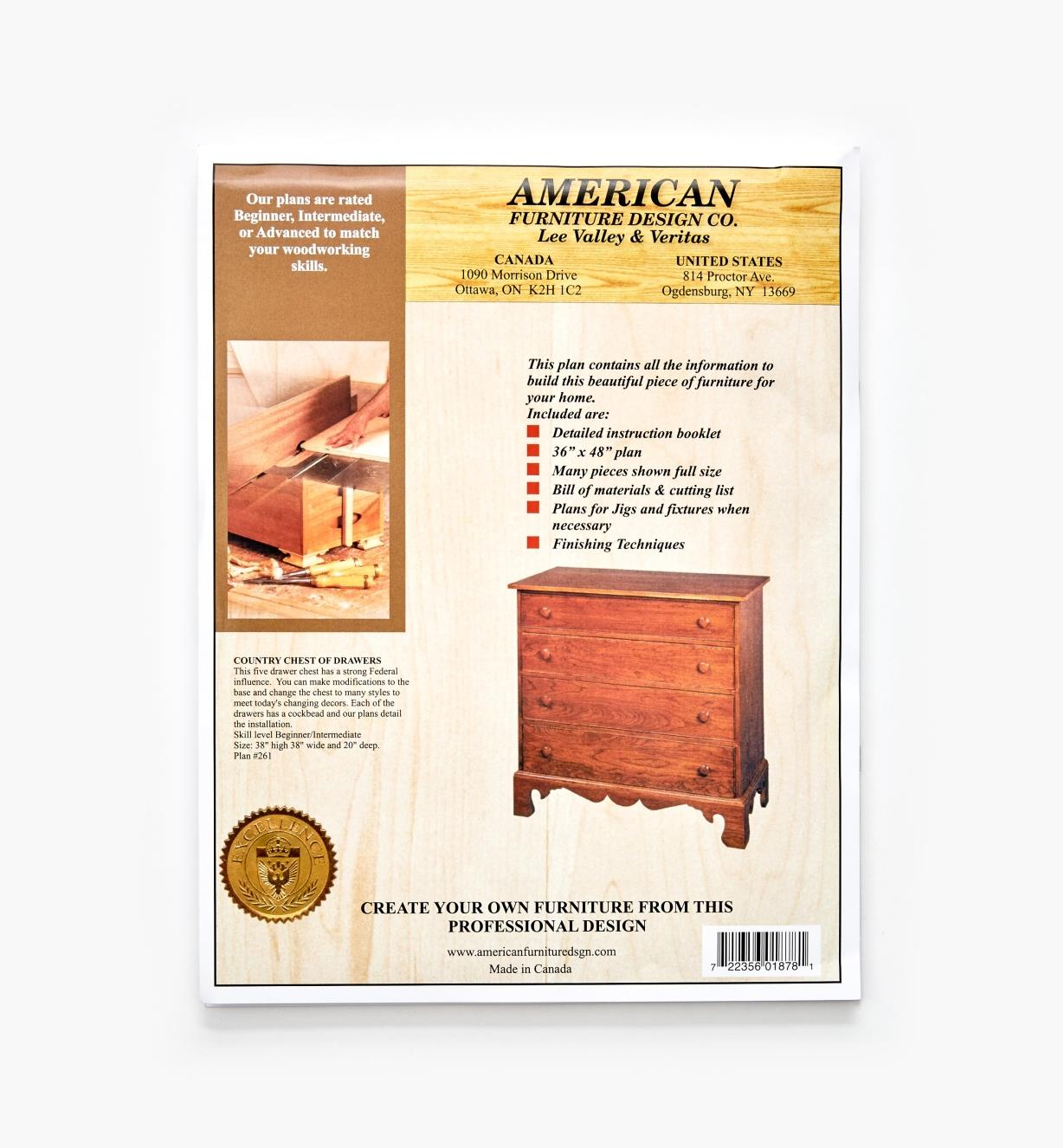 01L5006 - Country Chest of Drawers Plan