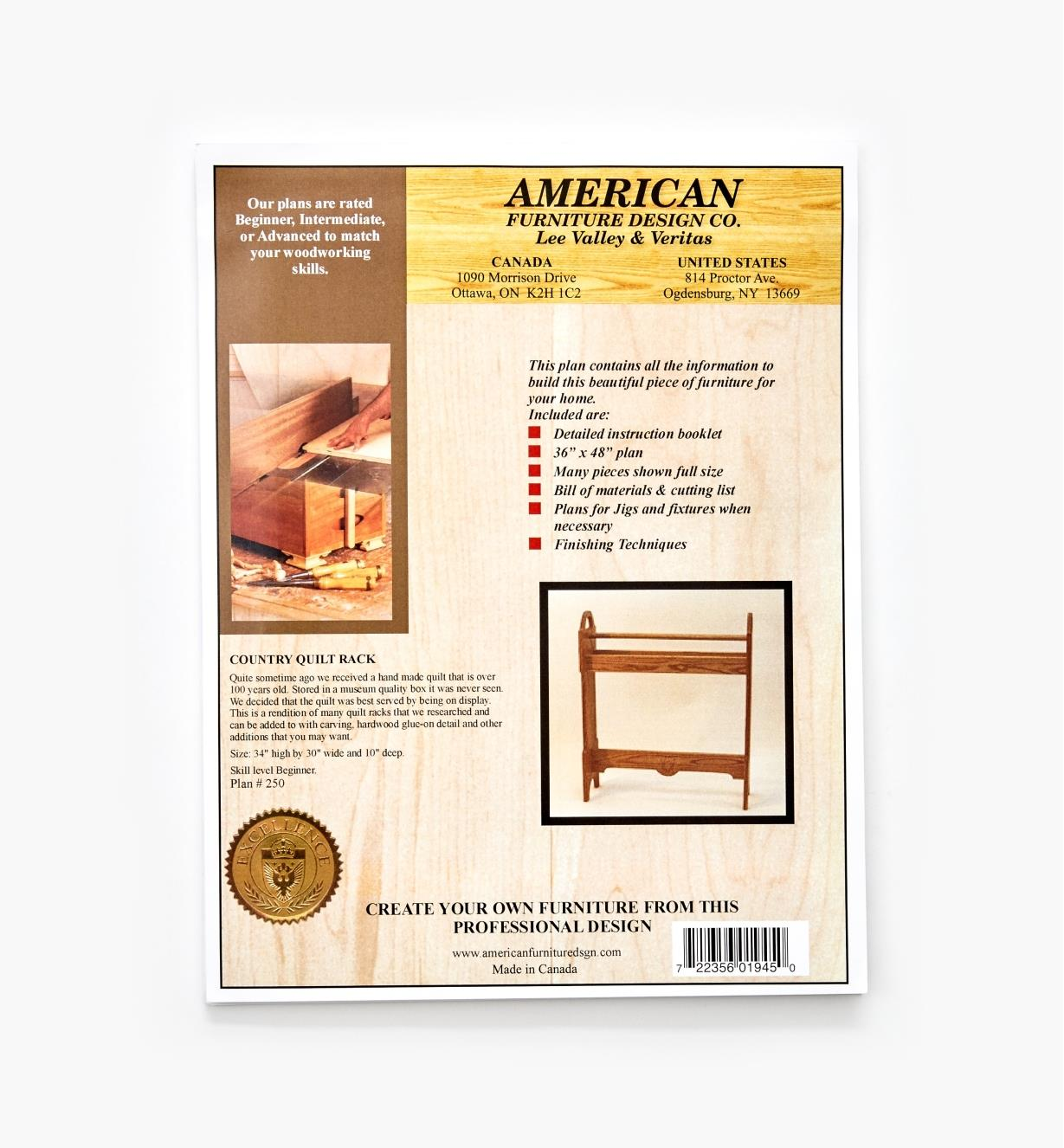 01L5090 - Country Quilt Rack Plan