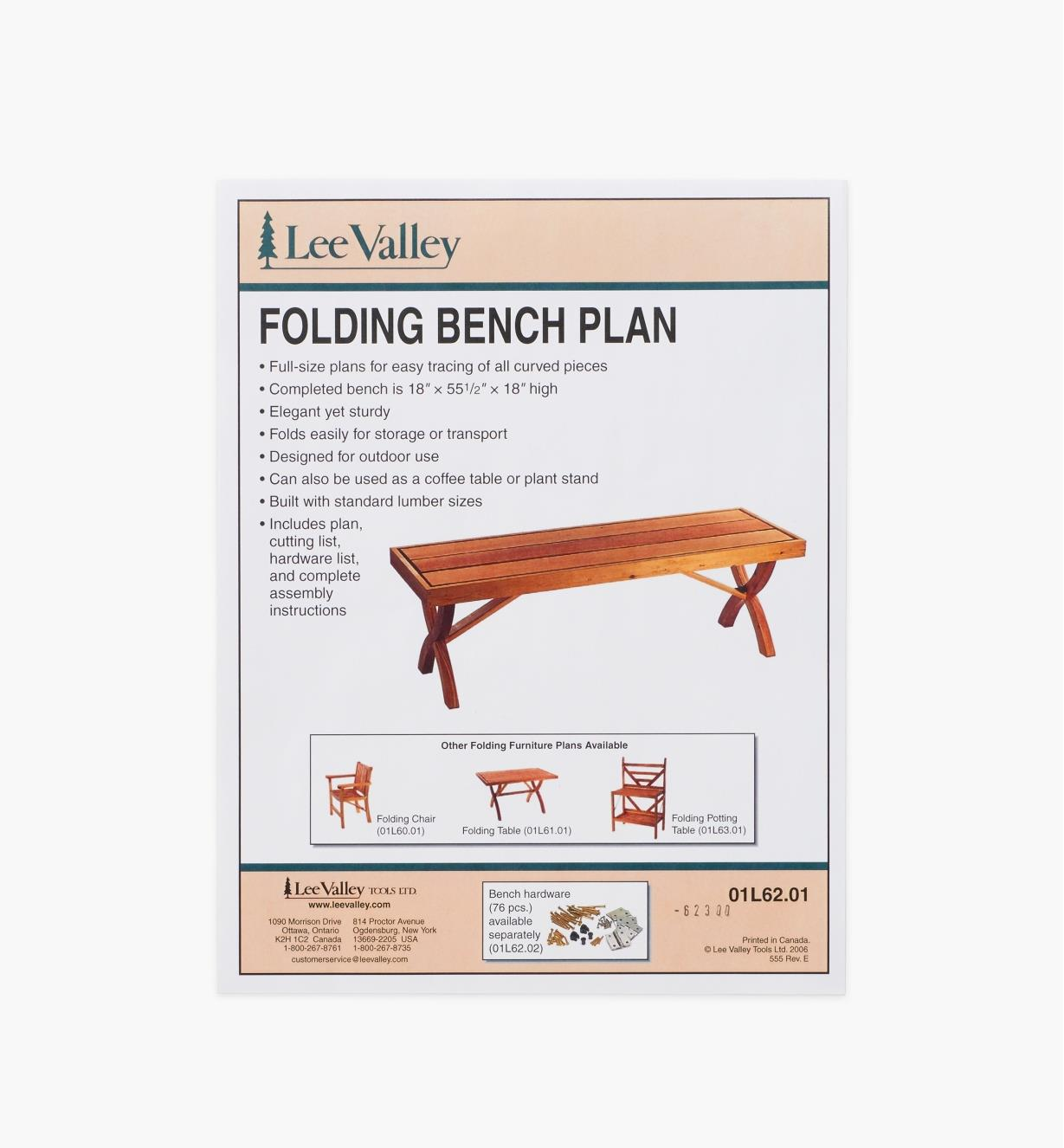 01L6201 - LV Folding Bench Plan