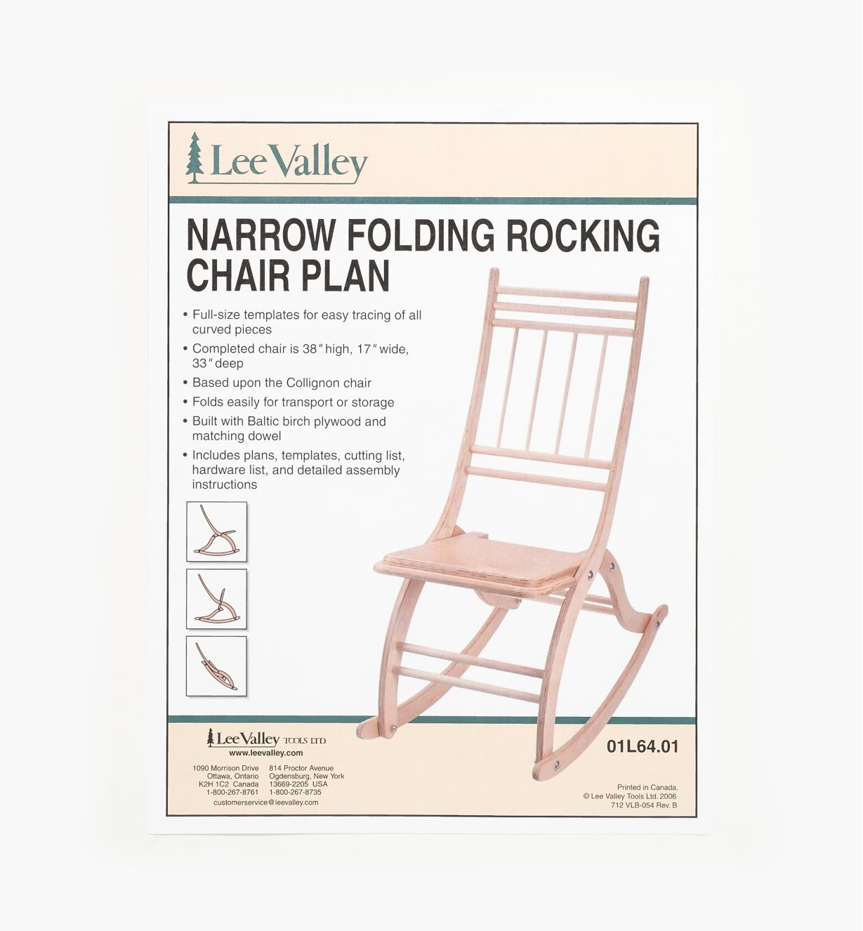 01L6401 - Narrow Rocking Chair Plan