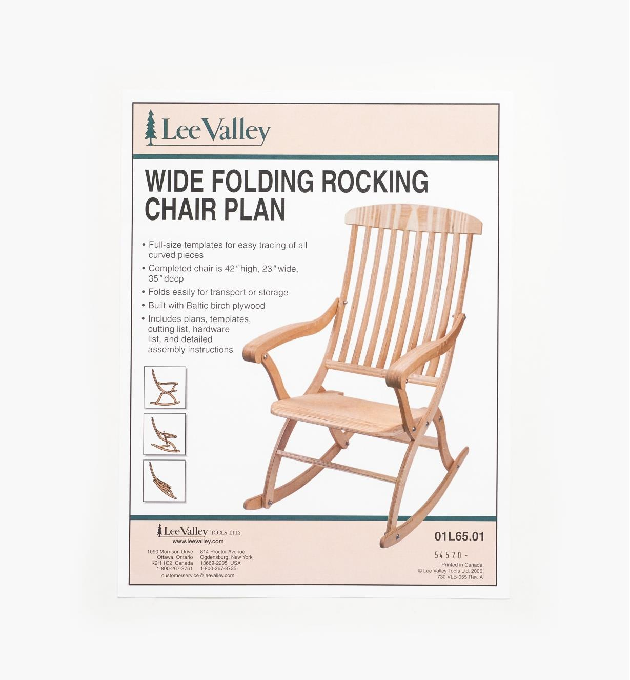 01L6501 - Wide Rocking Chair Plan