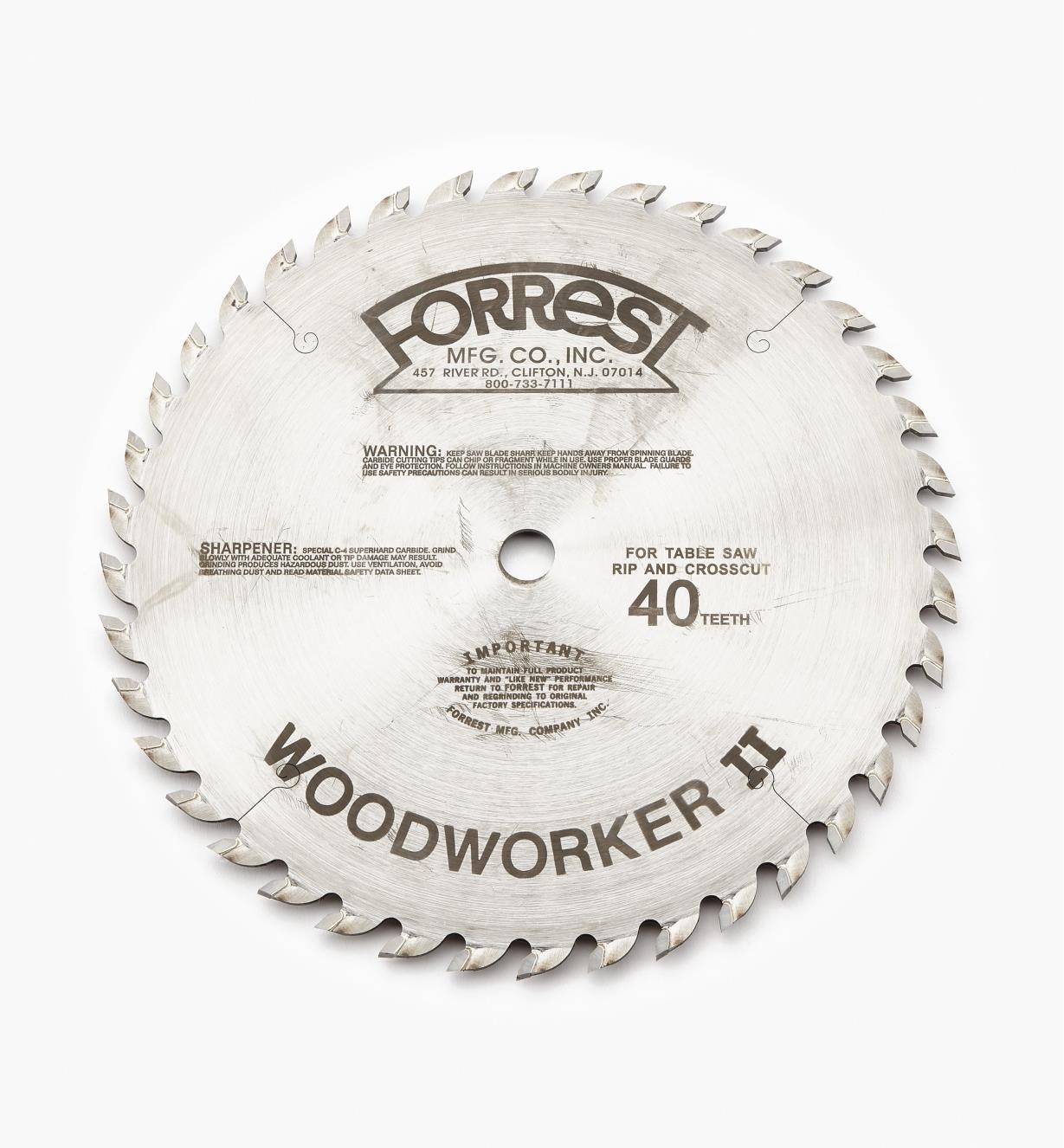 "15T4130 - Woodworker II Blade, 10"" x 40-Tooth, 1/8"" Kerf"
