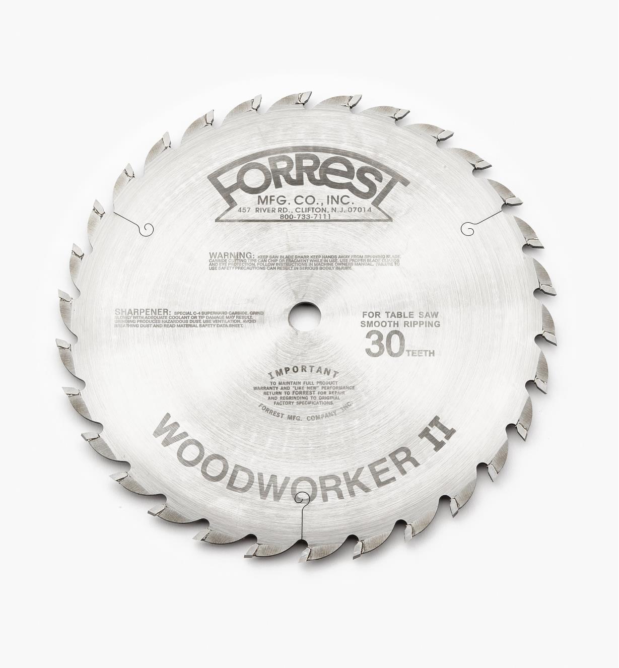 15T4131 - Lame WoodworkerII, 10pox30dents,  trait de 1/8po