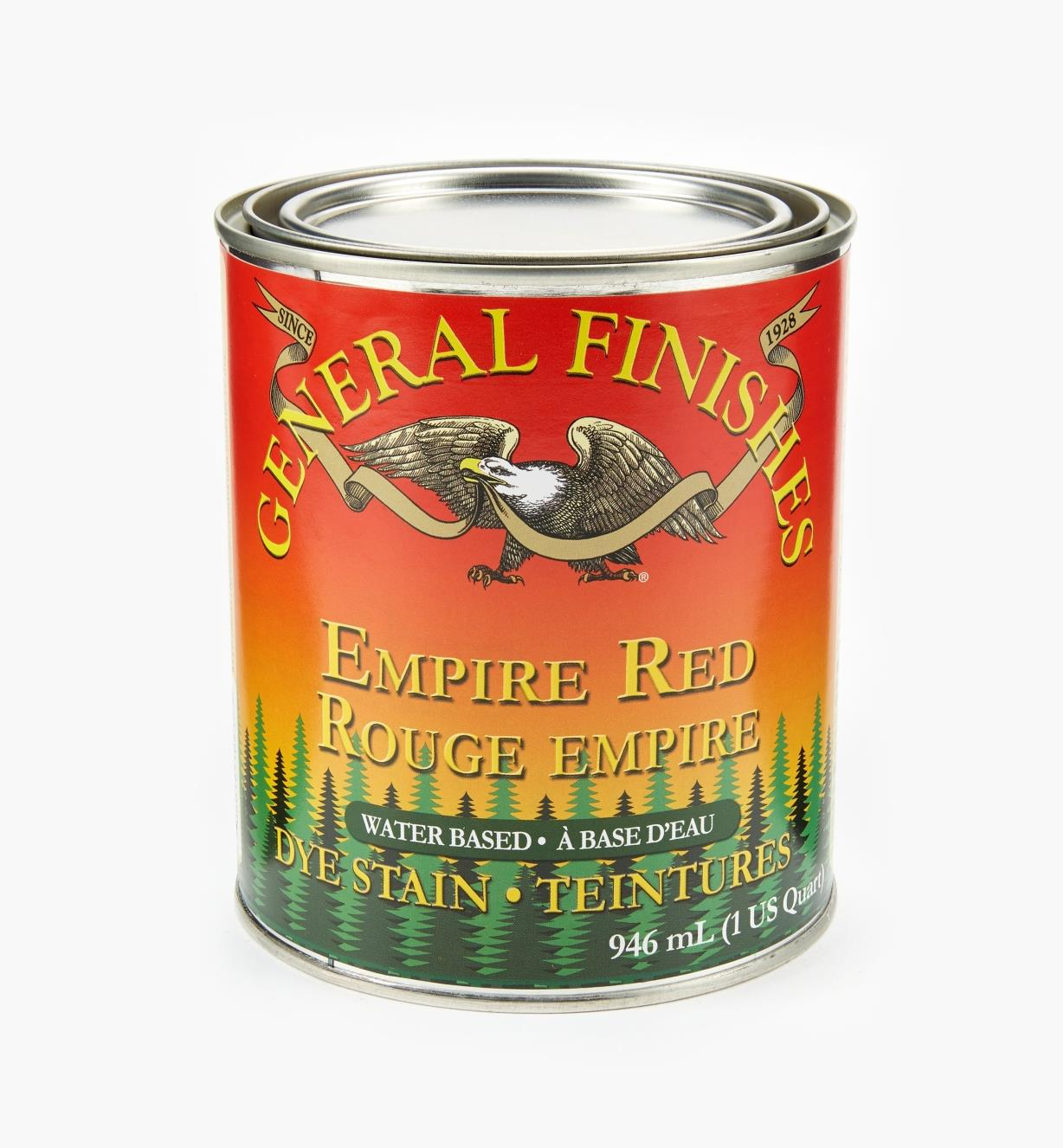 56Z1671 - General Dye Stain - Empire Red,1 qt.