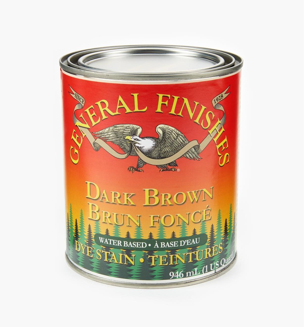 56Z1677 - General Dye Stain - Dark Brown, 1 qt.