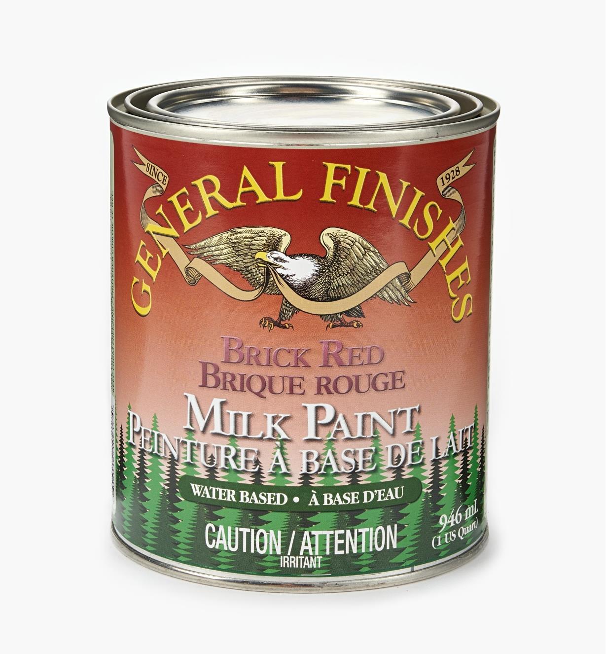 56Z1717 - Brick Red General Milk Paint, 1 qt.