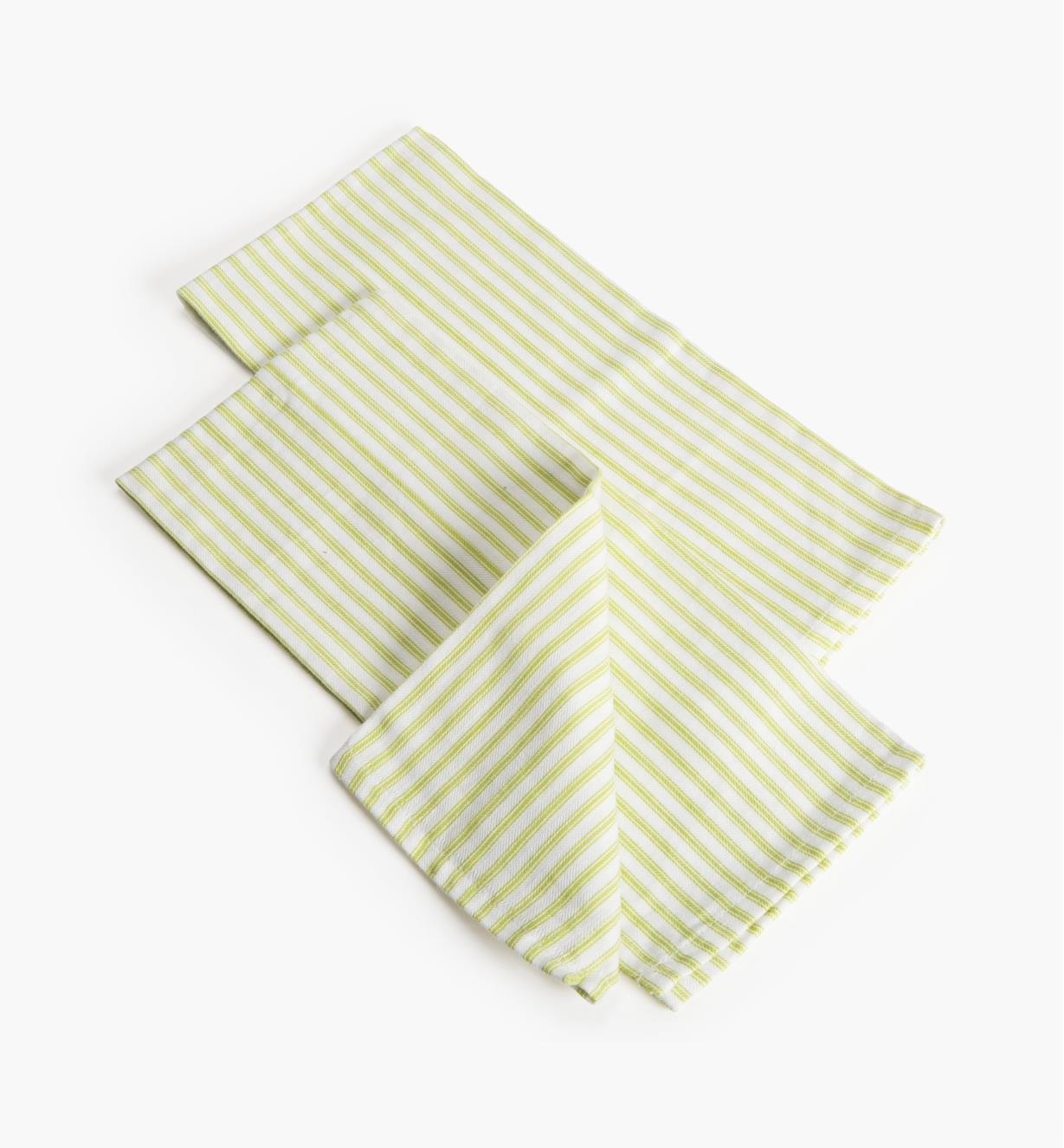 88K5861 - Green Stripe Glass Towels, pr.