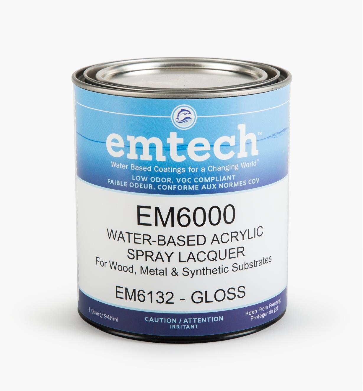 56Z1914 - Emtech Water-Based Gloss Lacquer, Quart